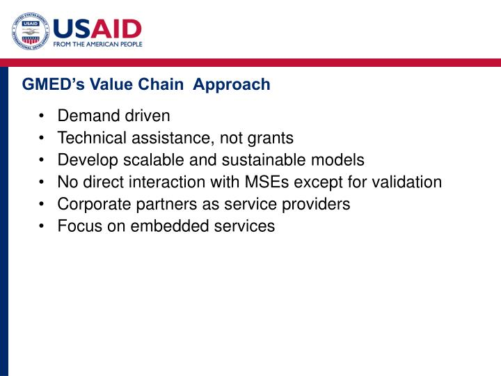 GMED's Value Chain  Approach