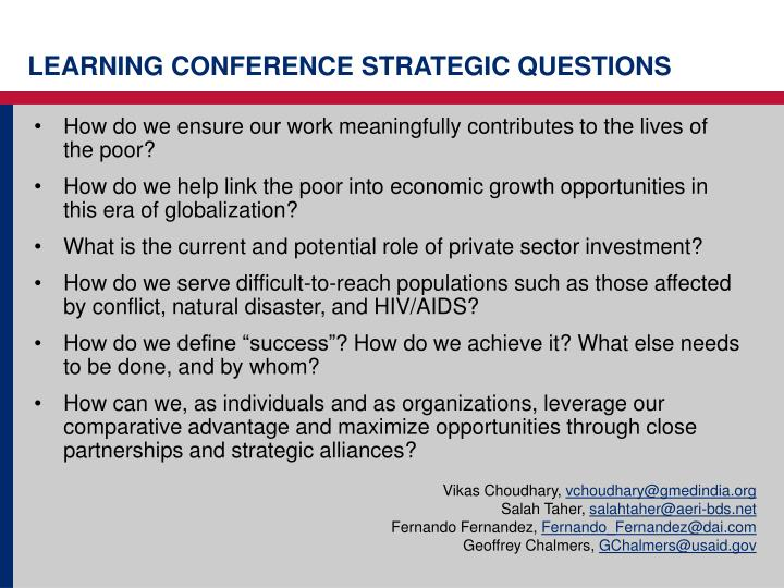 LEARNING CONFERENCE STRATEGIC QUESTIONS