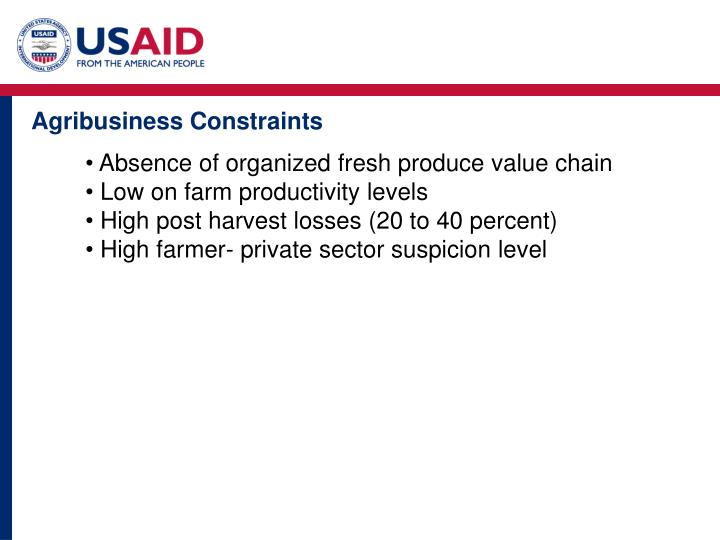 Agribusiness Constraints