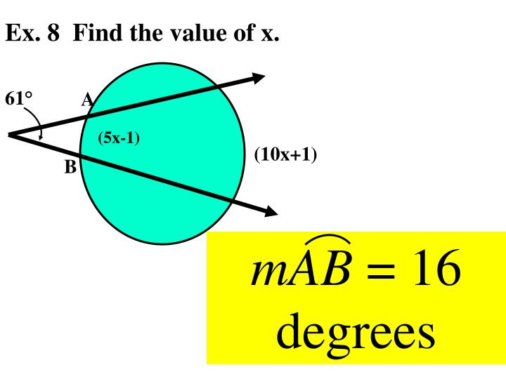 Ex. 8  Find the value of x