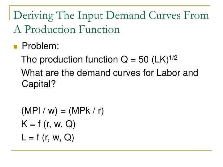 Deriving The Input Demand Curves From A Production Function