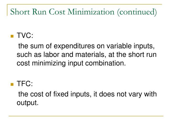 Short Run Cost Minimization (continued)