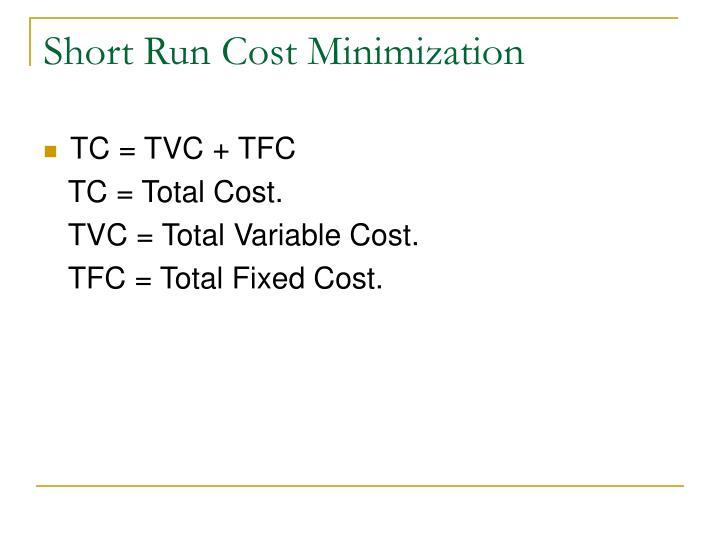 Short Run Cost Minimization