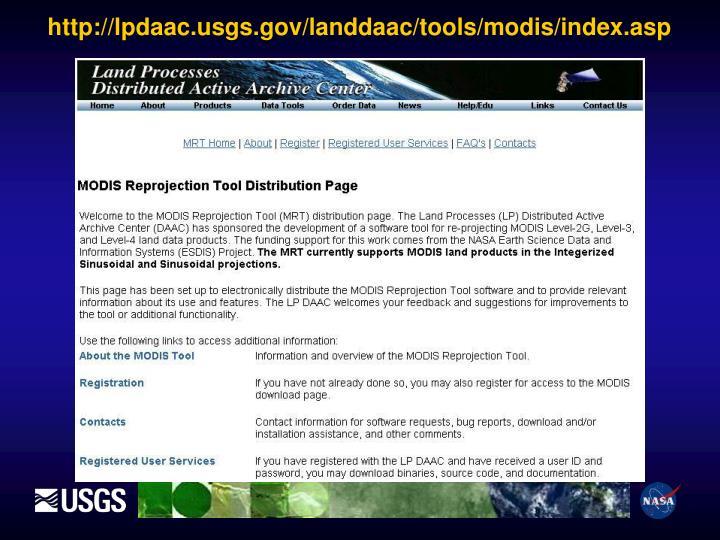 http://lpdaac.usgs.gov/landdaac/tools/modis/index.asp