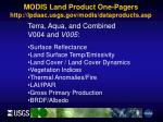 modis land product one pagers http lpdaac usgs gov modis dataproducts asp