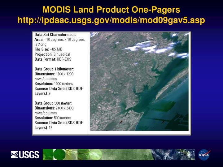 MODIS Land Product One-Pagers http://lpdaac.usgs.gov/modis/mod09gav5.asp