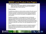 modis land product one pagers