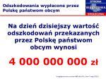 na dzie dzisiejszy warto odszkodowa przekazanych przez polsk pa stwom obcym wynosi 4 000 000 000 z