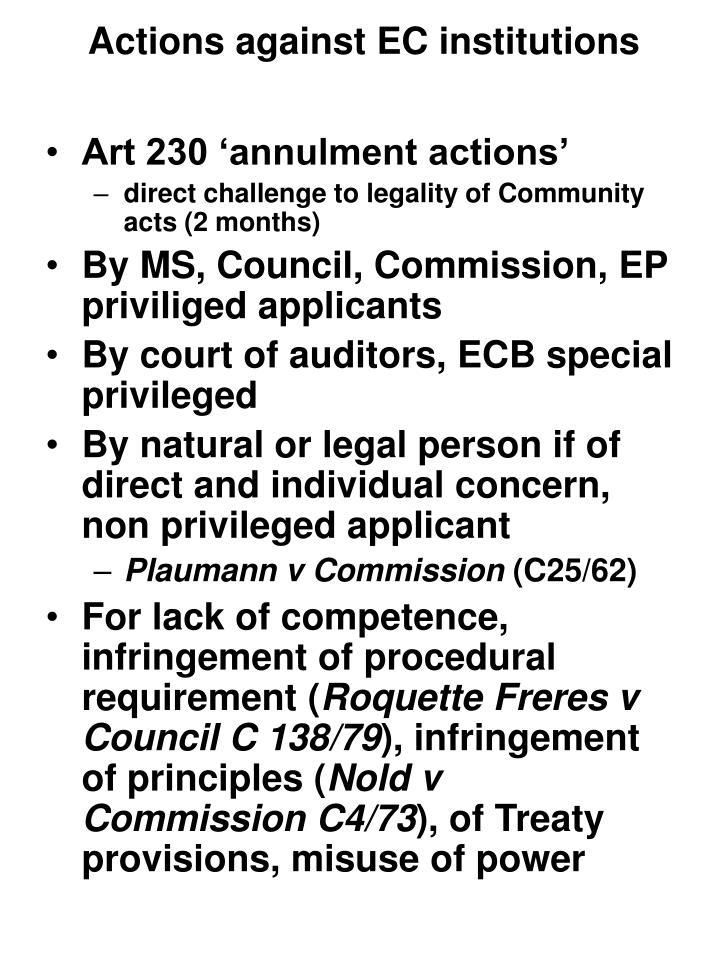 Actions against EC institutions