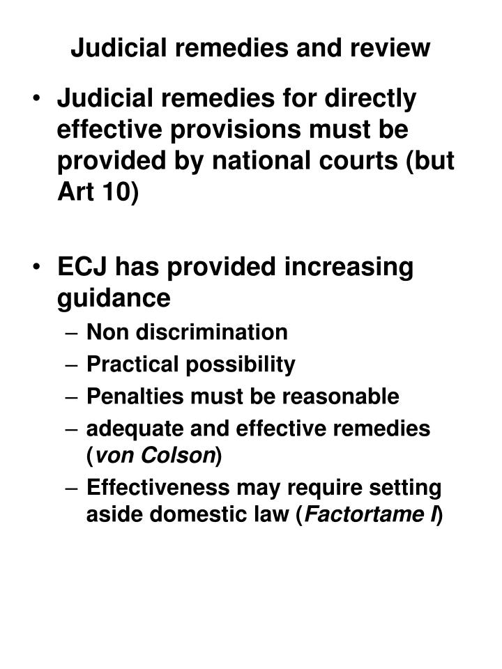 Judicial remedies and review
