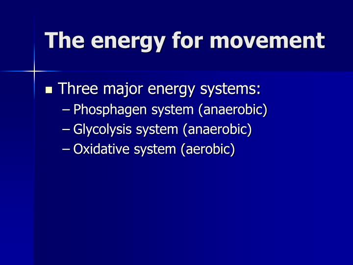 The energy for movement