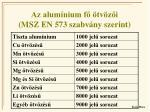 az alum nium f tv z i msz en 573 szabv ny szerint