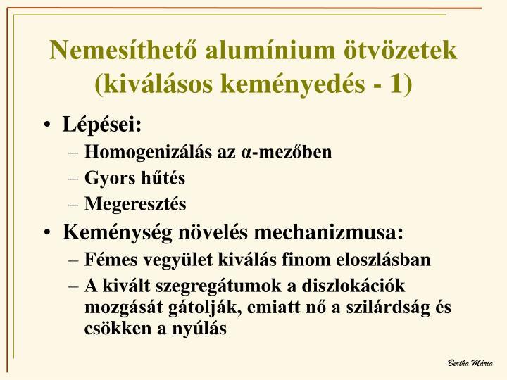 Nemesíthető alumínium ötvözetek (kiválásos keményedés - 1)