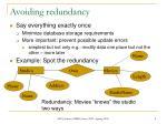 avoiding redundancy1