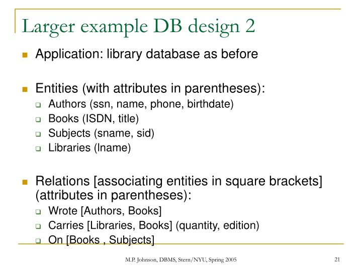 Larger example DB design 2