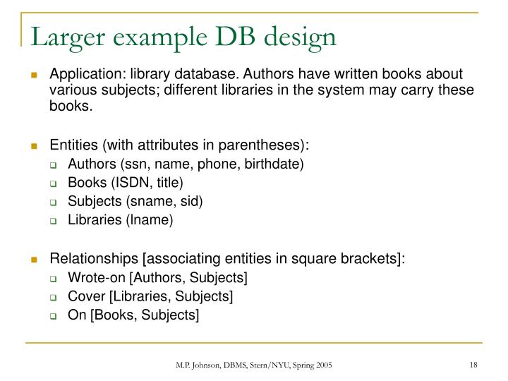 Larger example DB design