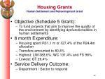 housing grants human settlement and redevelopment grant