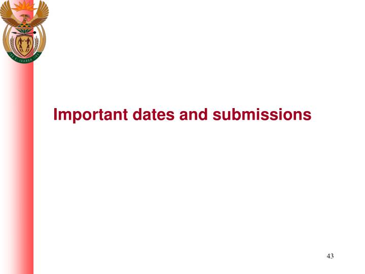Important dates and submissions