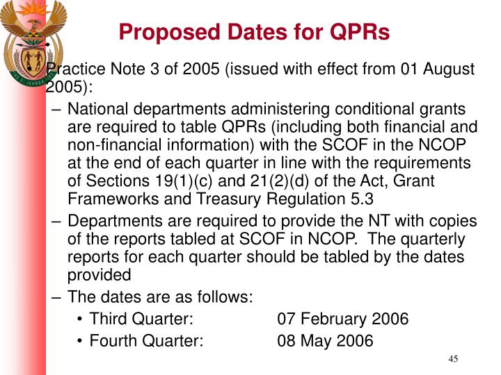Proposed Dates for QPRs
