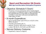 sport and recreation sa grants mass sport and recreation participation programme