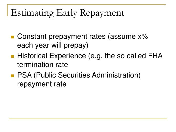 Estimating Early Repayment
