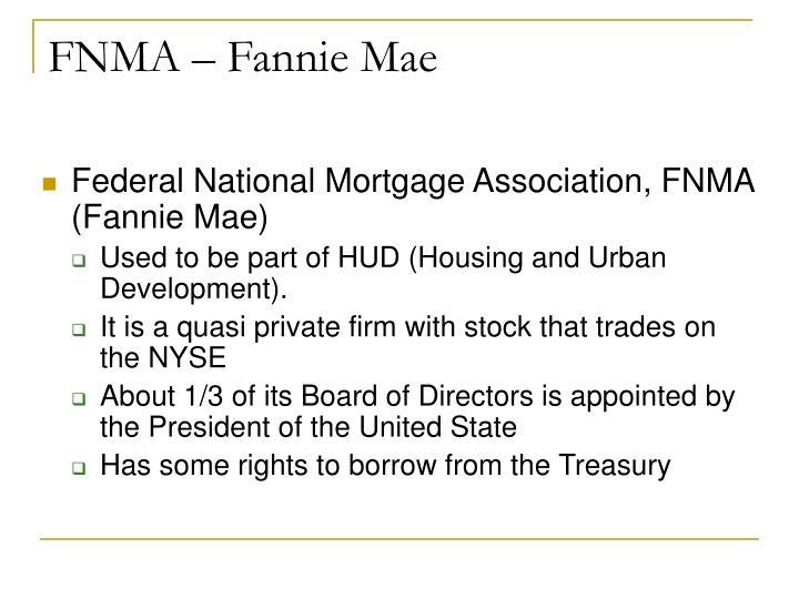 FNMA – Fannie Mae