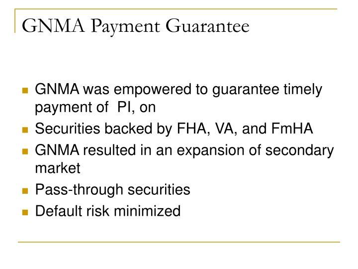 GNMA Payment Guarantee