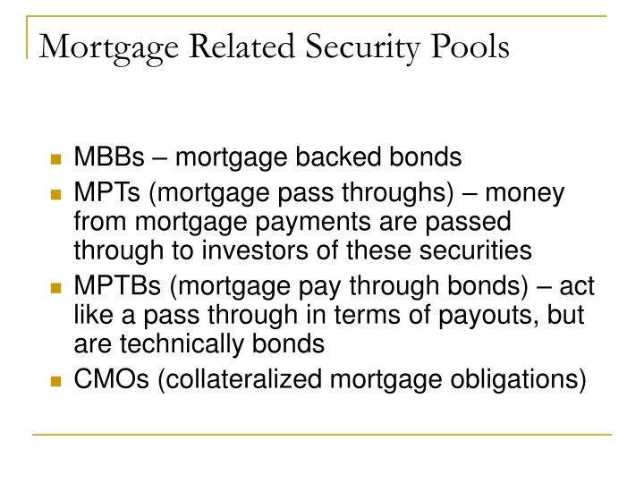 Mortgage Related Security Pools