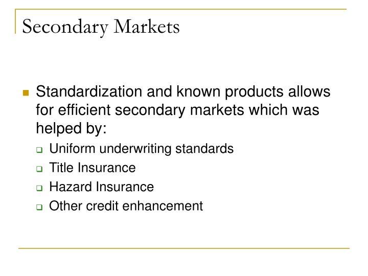 Secondary Markets