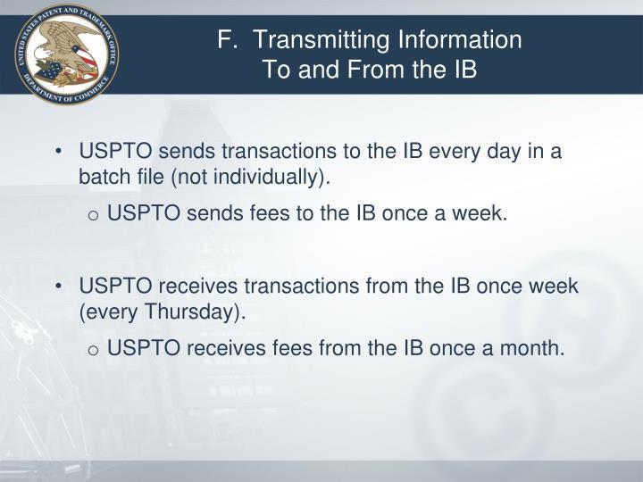 F.  Transmitting Information
