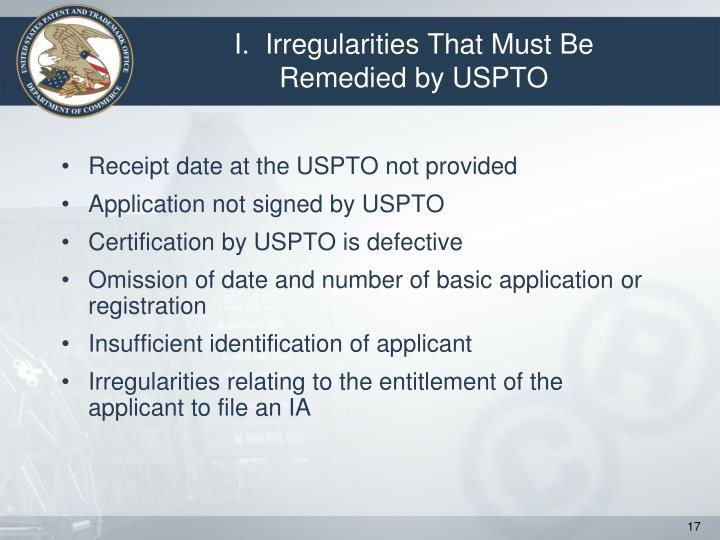 I.  Irregularities That Must Be