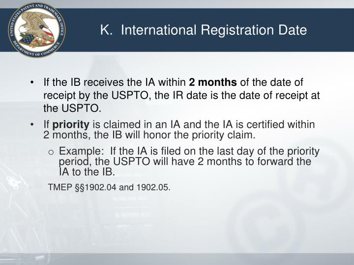 K.  International Registration Date