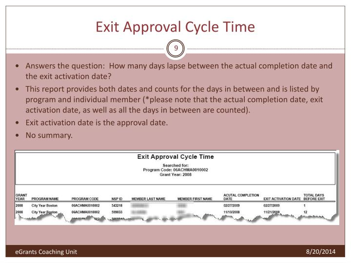 Exit Approval Cycle Time
