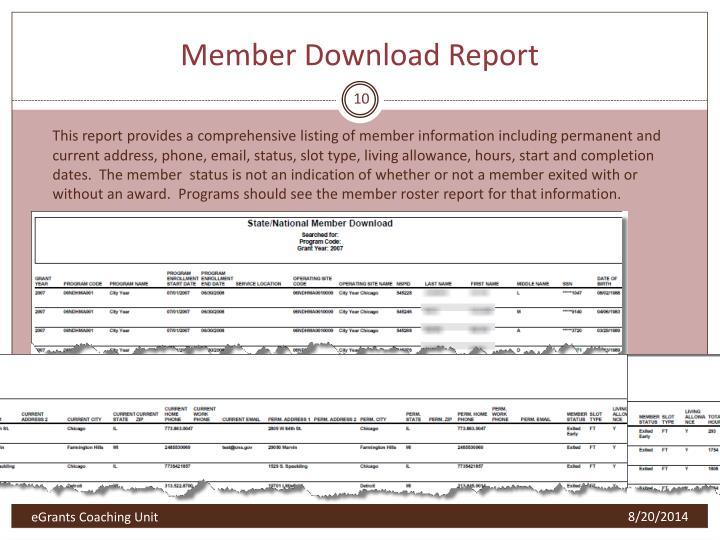 Member Download Report