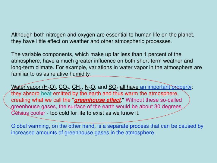 Although both nitrogen and oxygen are essential to human life on the planet,