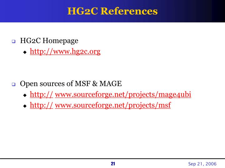 HG2C References
