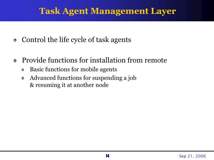 Task Agent Management Layer