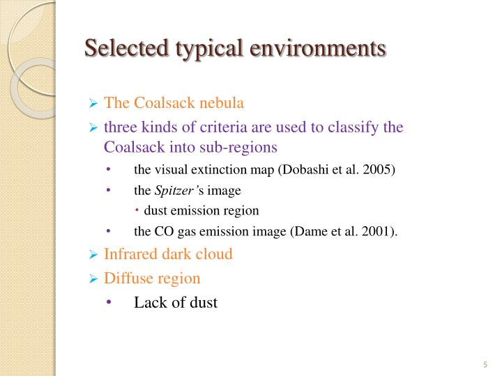 Selected typical environments