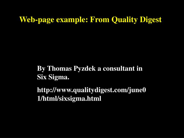 Web-page example: From Quality Digest