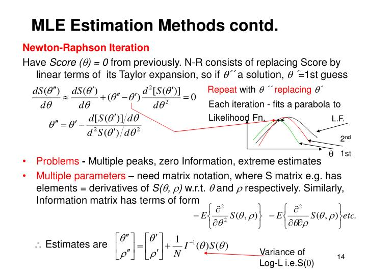 MLE Estimation Methods contd.