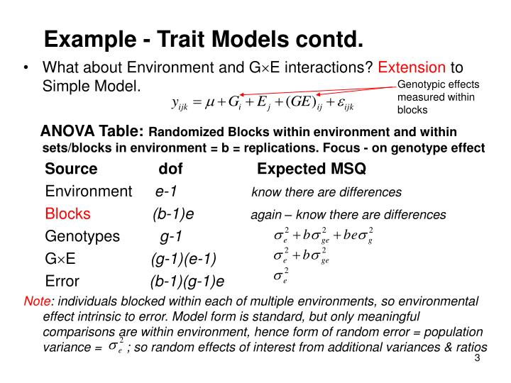 Example - Trait Models contd.