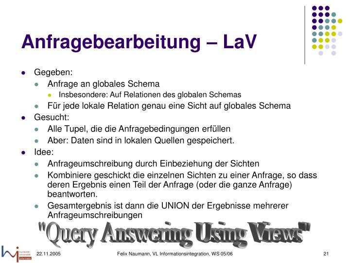 Anfragebearbeitung – LaV