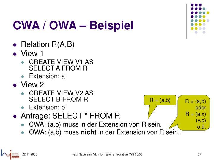 CWA / OWA – Beispiel