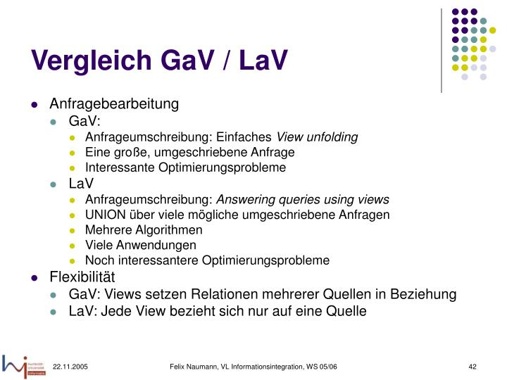 Vergleich GaV / LaV