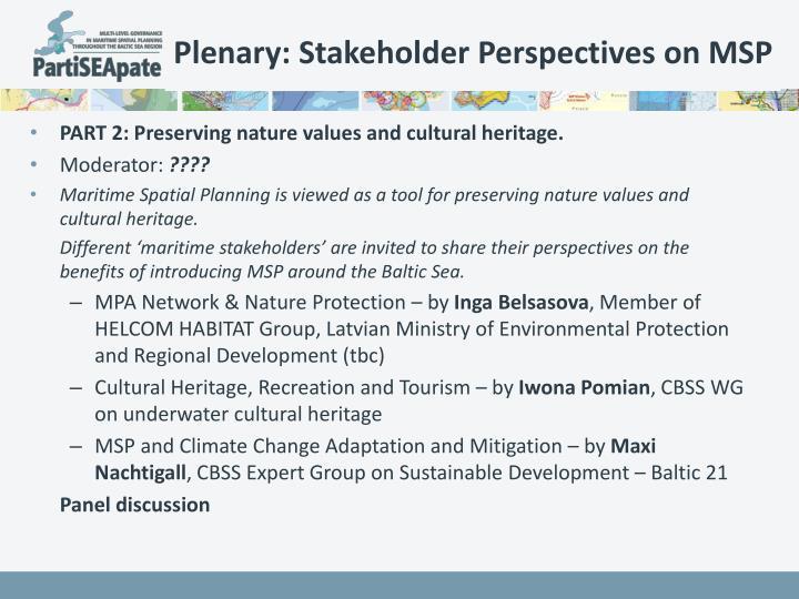 Plenary: