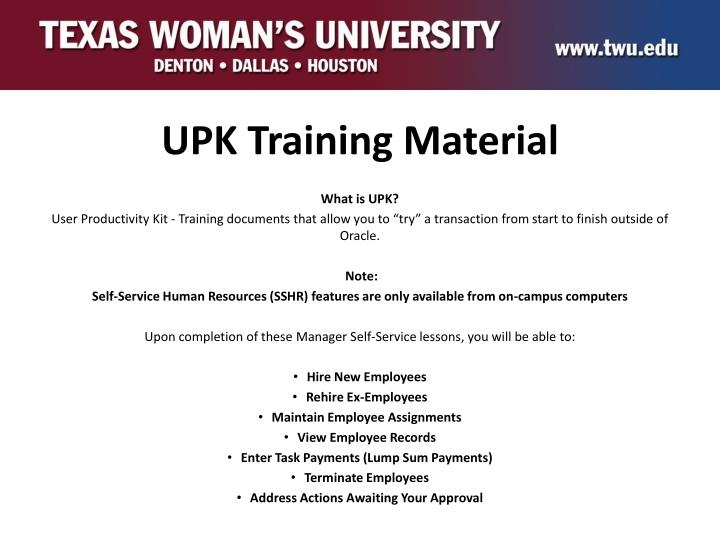 UPK Training Material