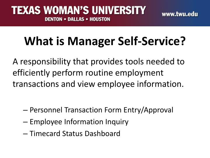 What is manager self service
