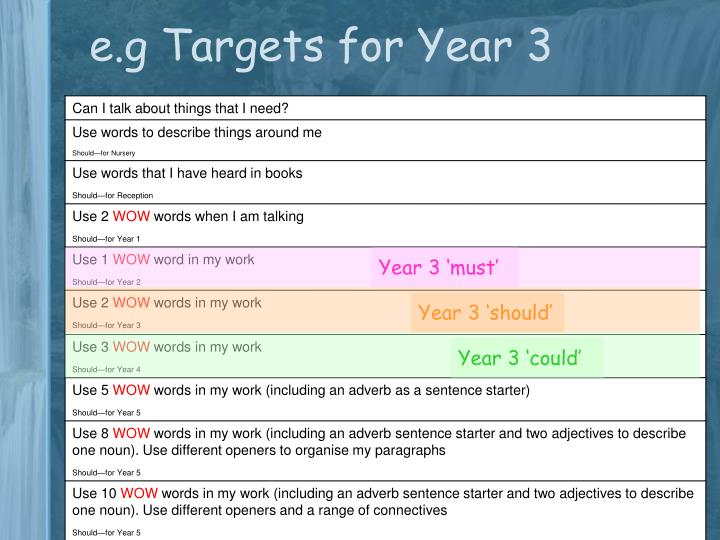 e.g Targets for Year 3