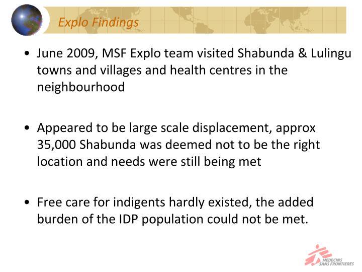Explo Findings