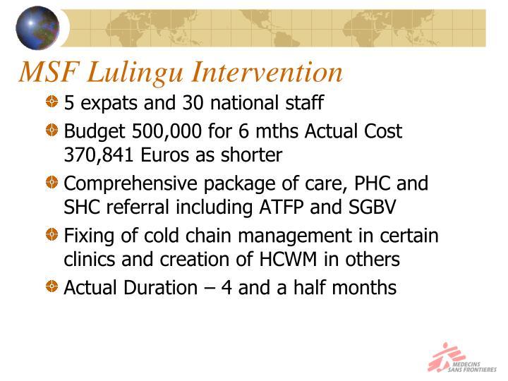 MSF Lulingu Intervention